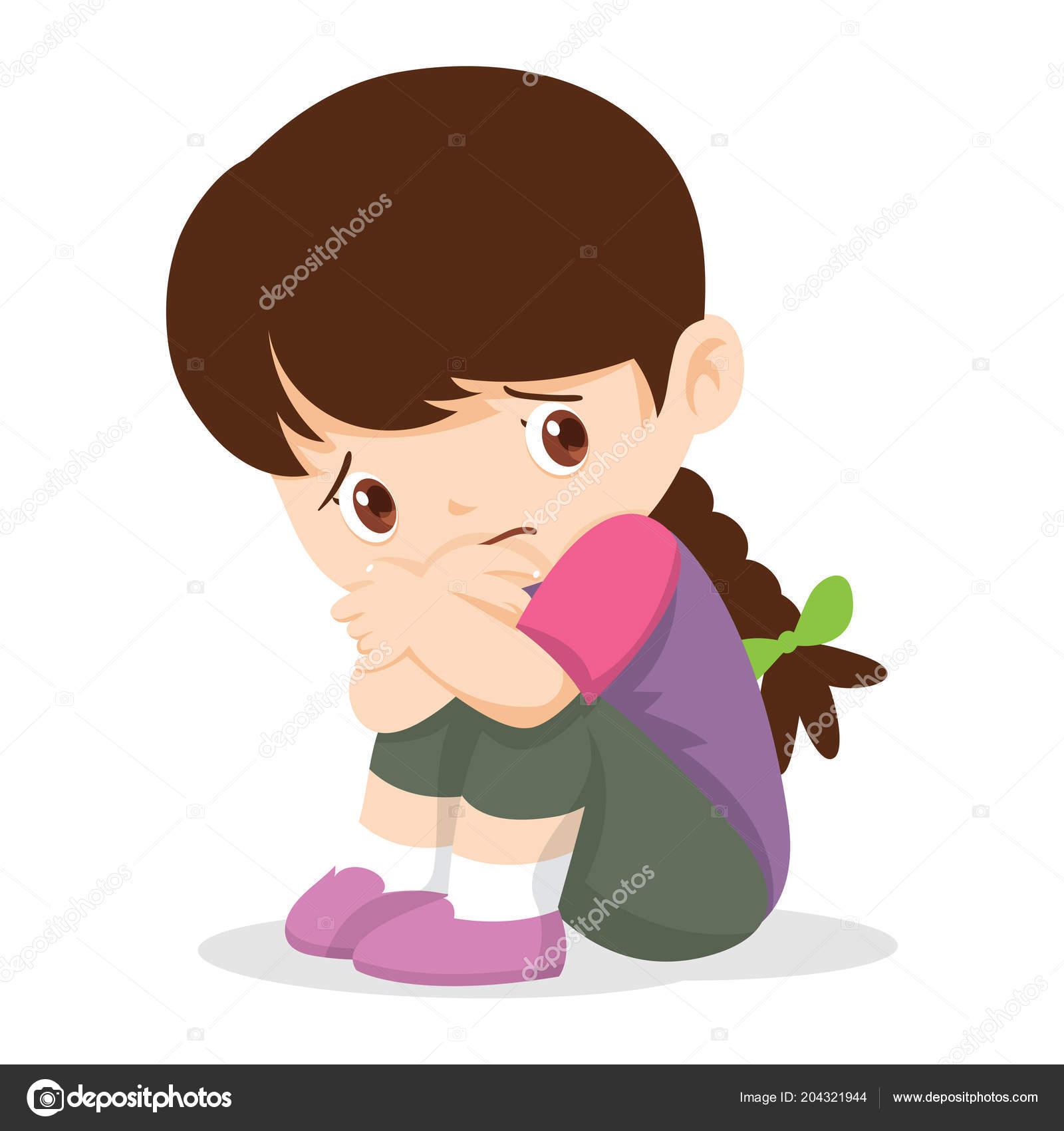 悲しい少女 落ち込んで孤独な女の子 悲しい子は 無力ないじめのイラスト