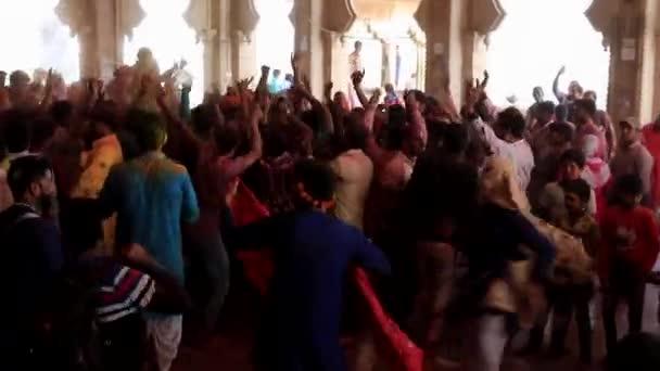 Barsana, India - 20180223 - Holi Festival  -  Girl Spins In Circle In Dance.