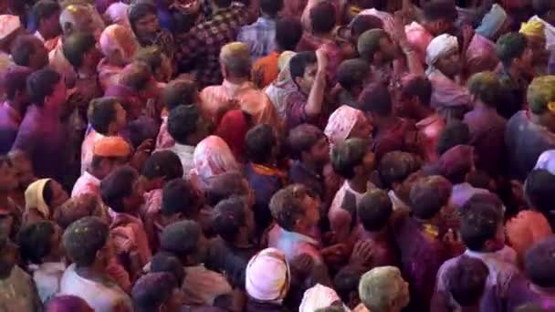 Barsana, India - 201802242 -  Holi Festival  -  Chaos  -  Crowd Below Surges But Nowhere To Go.