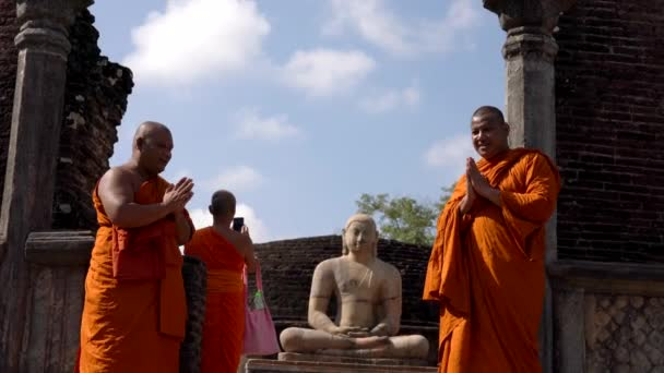 Polonnaruwa, Sri Lanka - 2019-03-23 - Monks On Tour 9 - Posing With Buddha Statue Standing