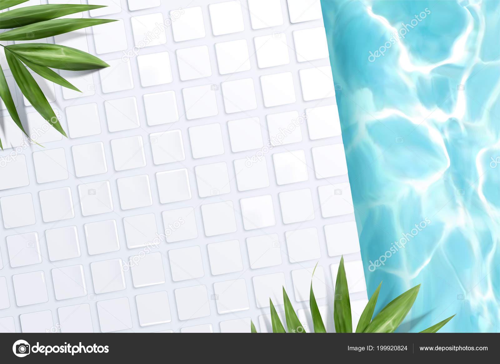Vue Dessus Scene Piscine Avec Carrelage Blanc Vert Palmier Laisse