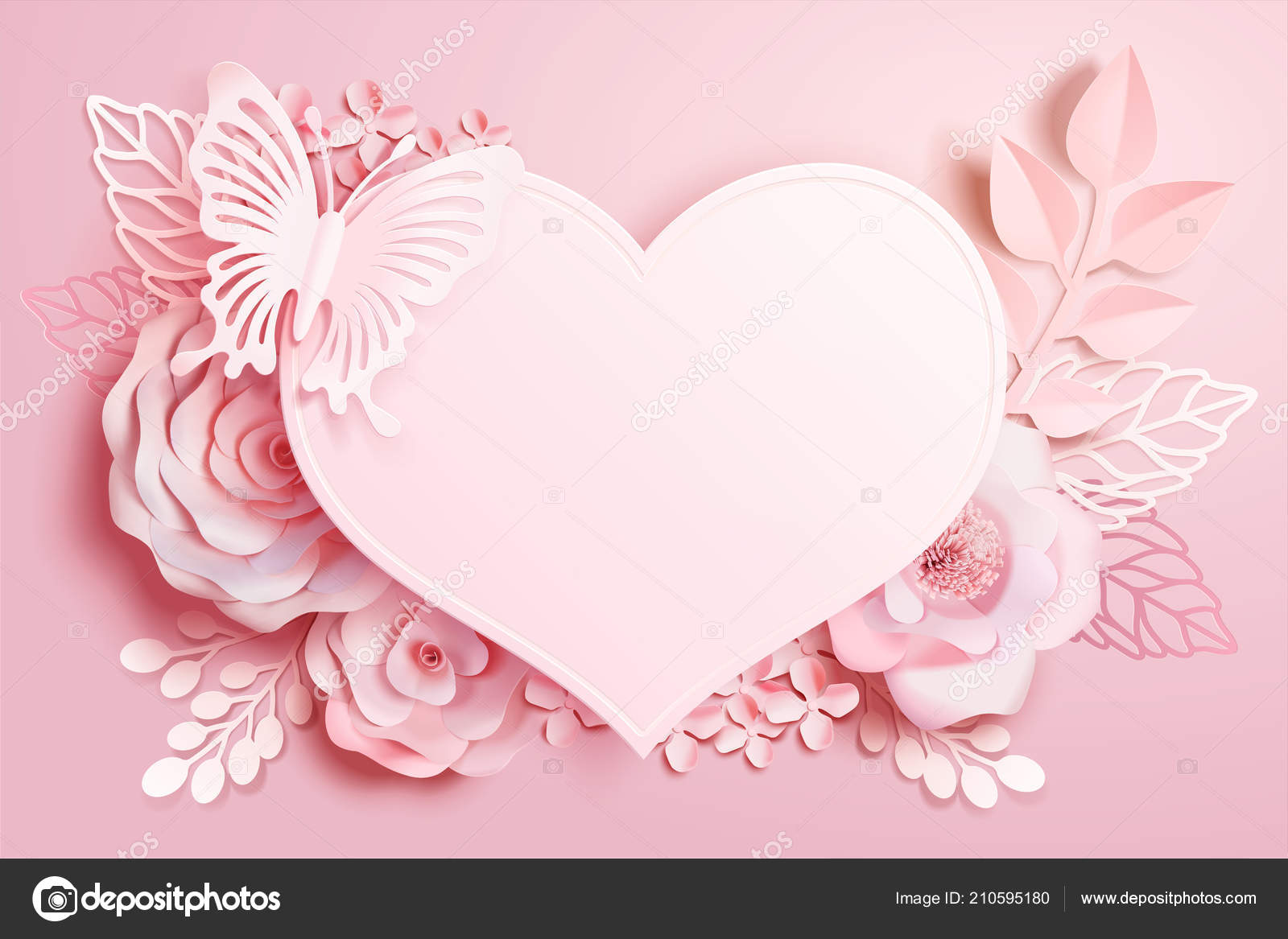 Romantic Floral Paper Art Heart Shape Butterfly Pink Tone