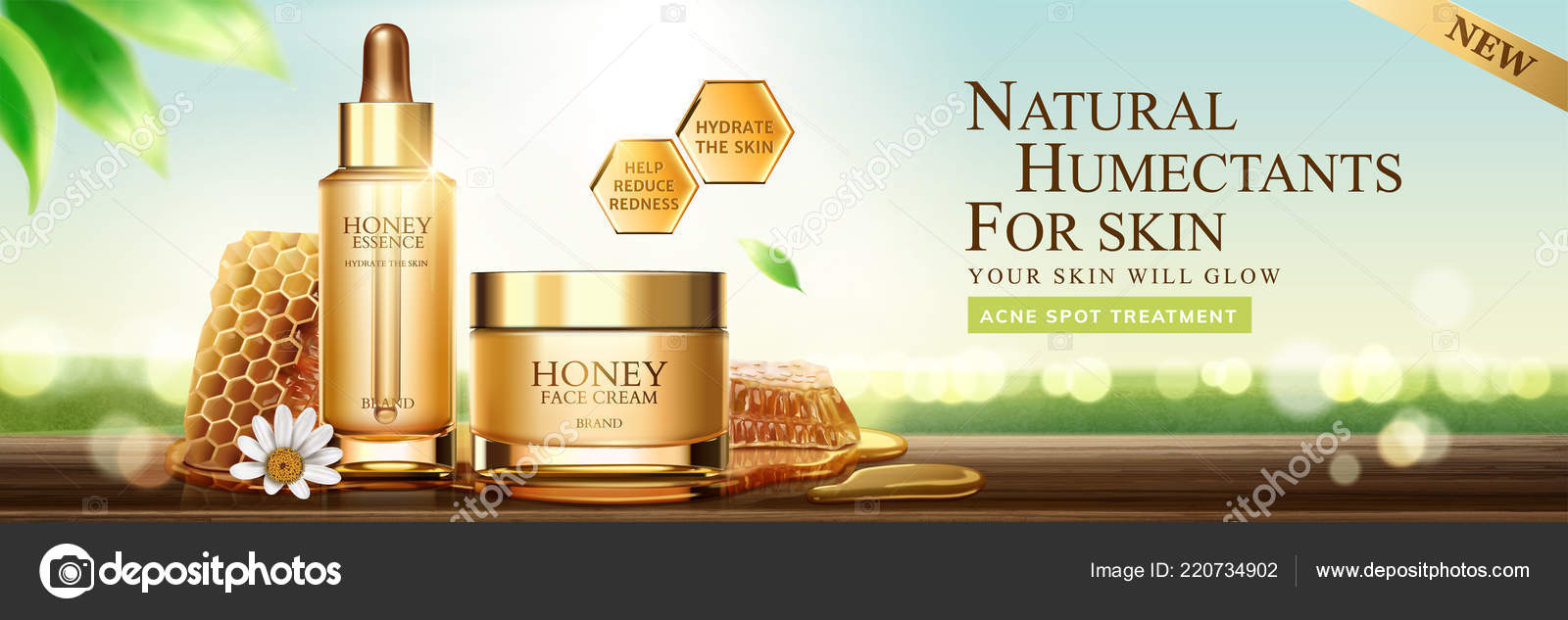 Natural Honey Skin Care Banner Ads Beehive Containers Nature Bokeh Stock Vector C Hstrongart 220734902