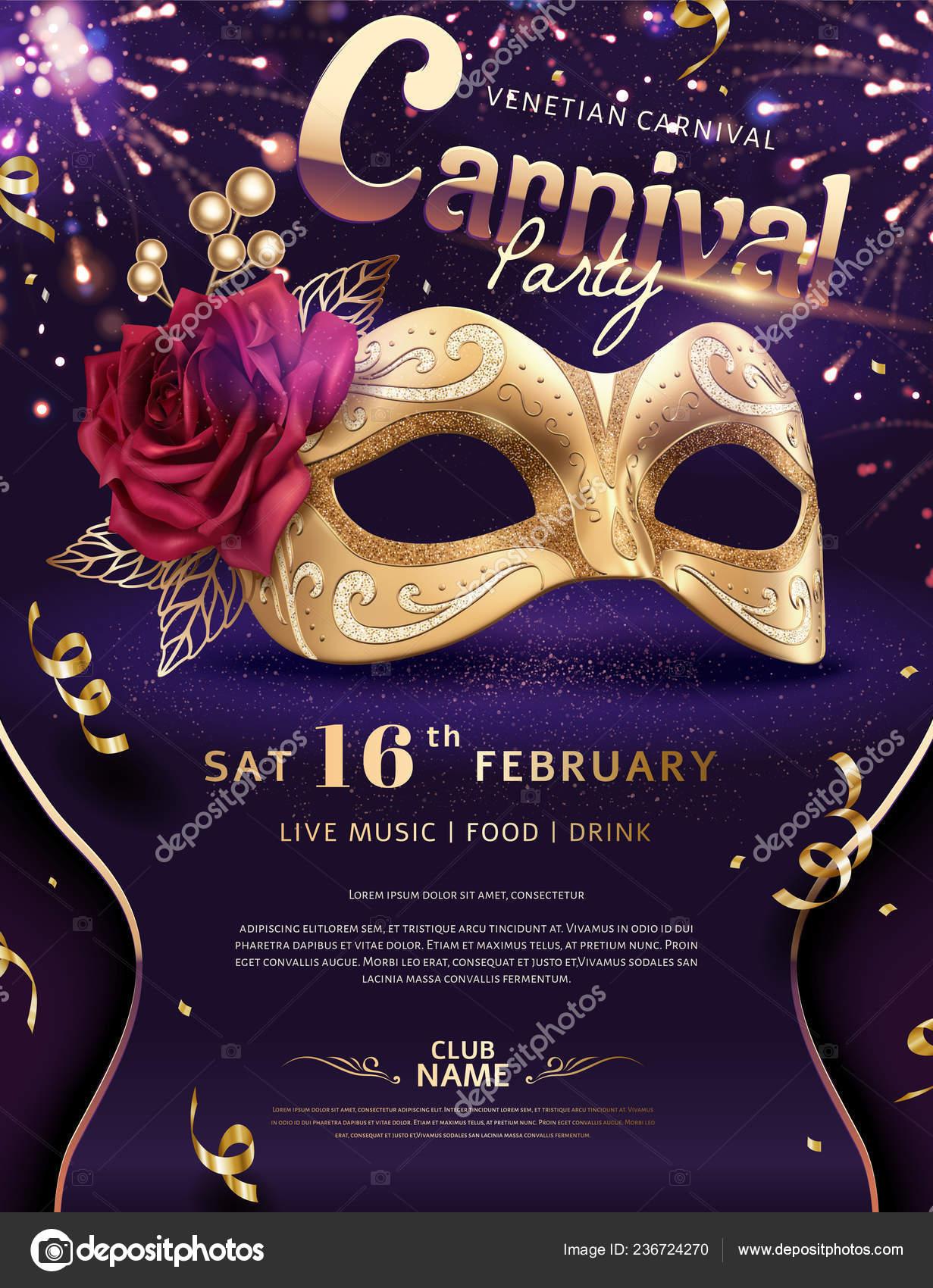 5fe4ffbf4 Benátky Karneval Plakát Luxusní Zlaté Masky Ohňostroj Efektem Obrázek —  Stockový vektor