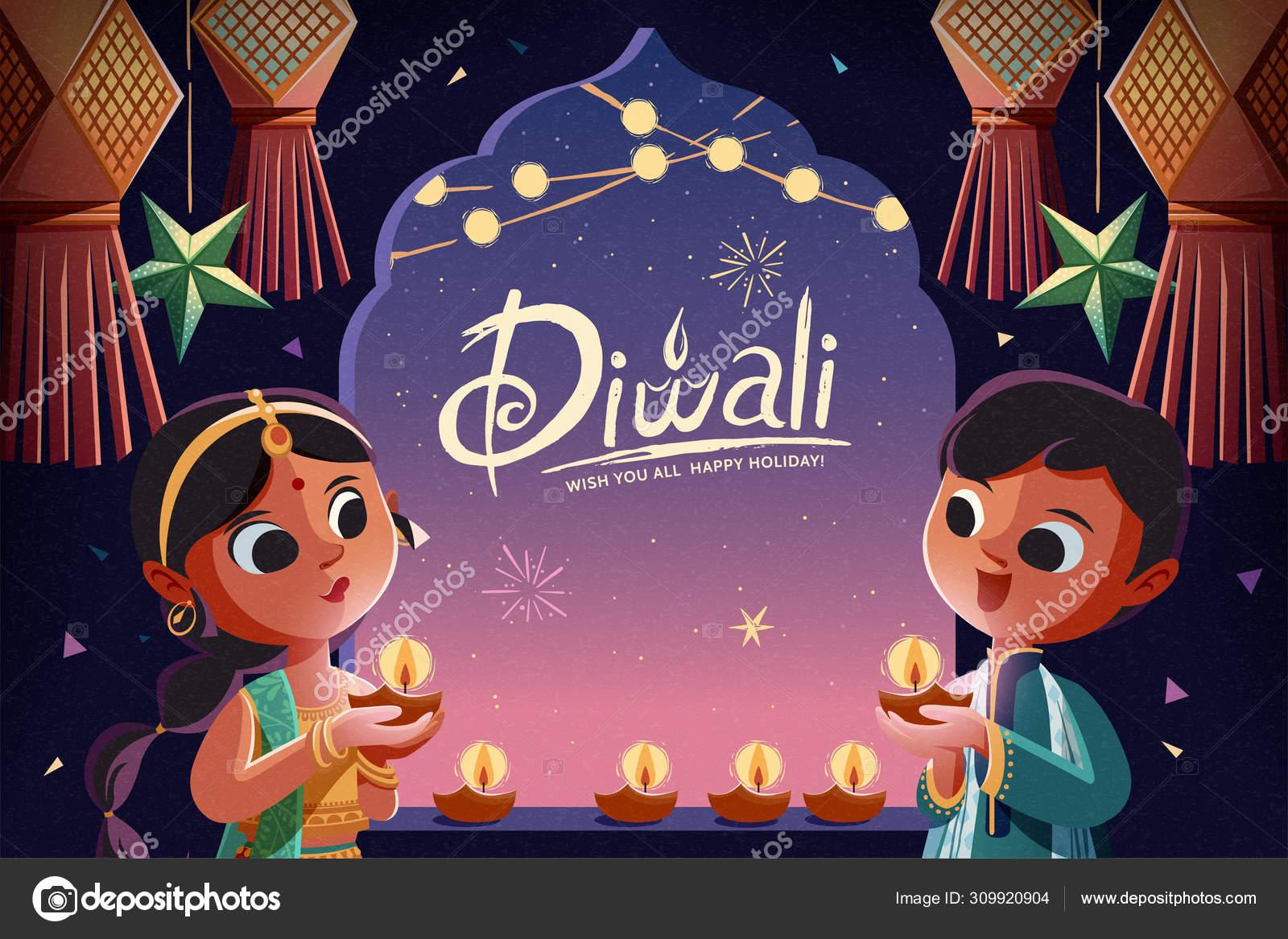 Áˆ Diwali Cartoon Stock Drawings Royalty Free Diwali With Child Vectors Download On Depositphotos