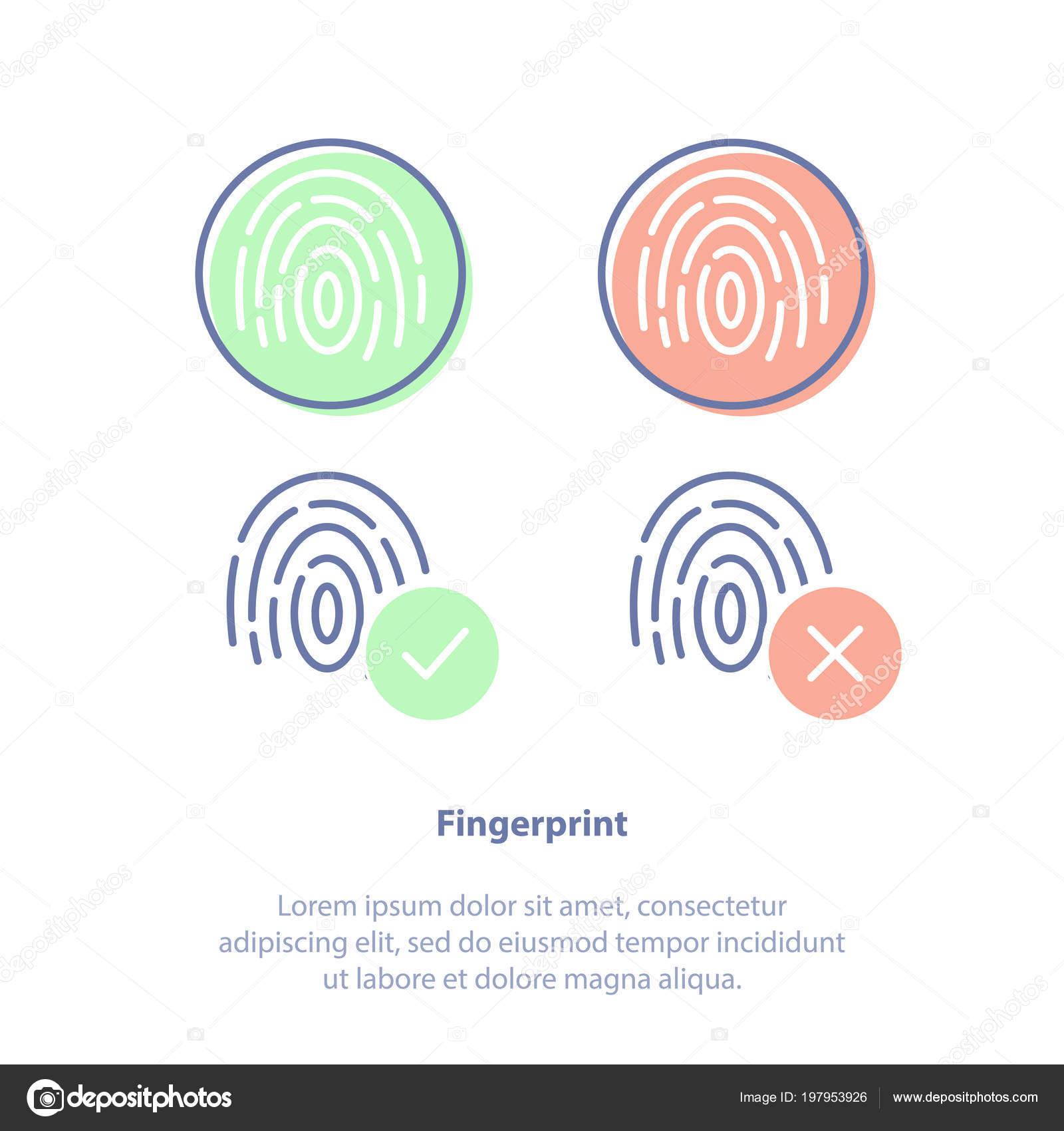 Flache Linie Vektor Illustration Konzept Von Fingerabdrucken