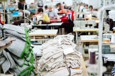 Modern and big sewing industry with labourers