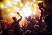 Portrét šťastný taneční davu těší na hudebním festivalu