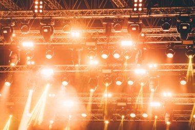Picture of bright concert lighting on music stage