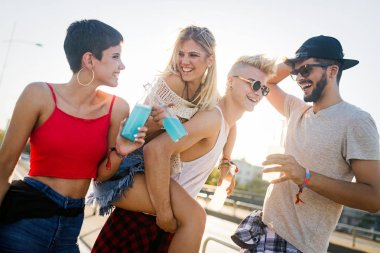 Group of young urban friends having fun together
