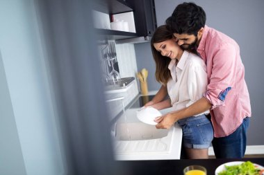Young happy couple is washing dishes and hugging smiling