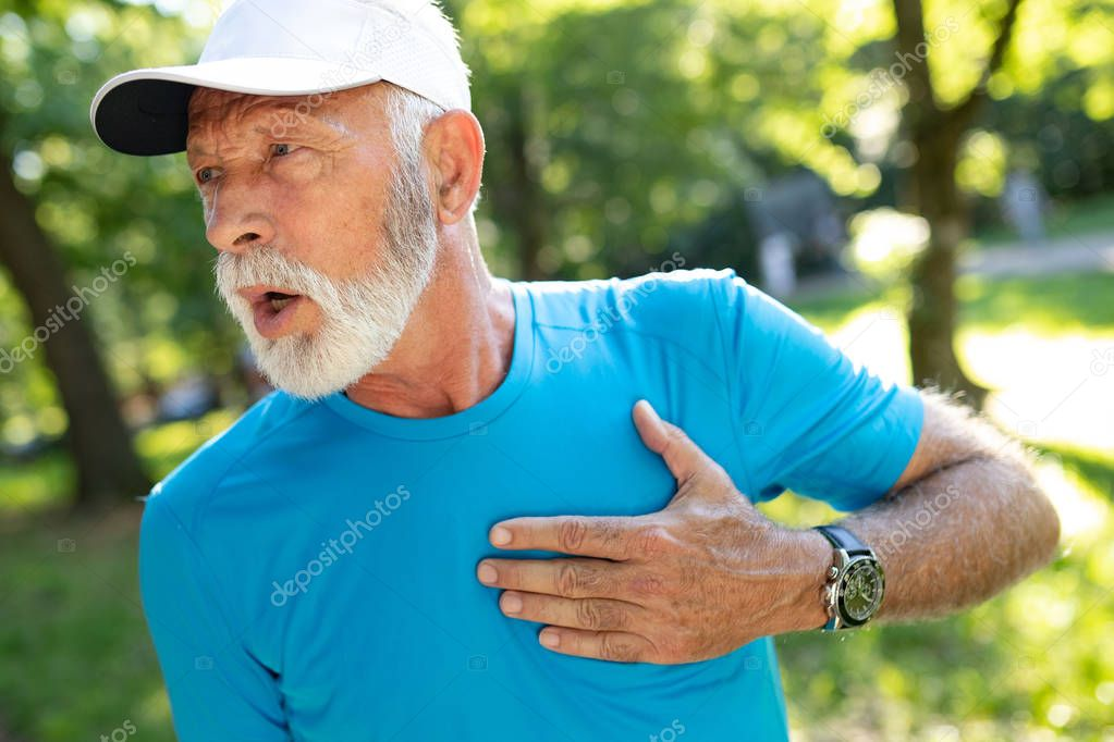 Senior man athlete have sore left chest pain dizziness