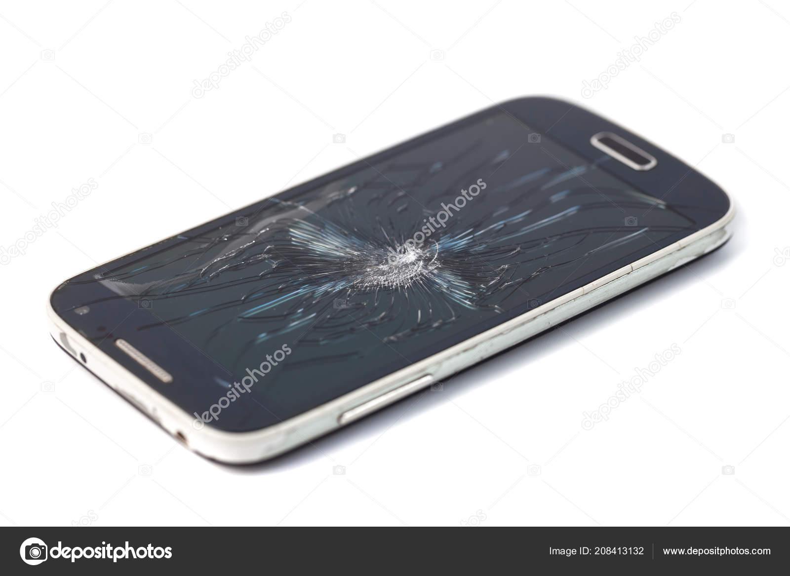 Cellulare Smartphone Con Schermo Rotto Isolato Priorità Bassa Bianca