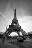 View at Eiffel Tower from the Champ de Mars (Field of Mars). BW