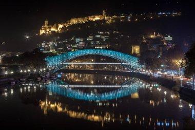 Pedestrian bridge of peace over the Mtkvari (Kura) River in Tbil