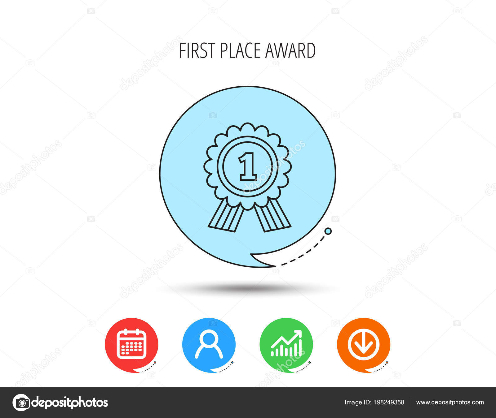 Gold medal award icon  First place sign  — Stock Vector