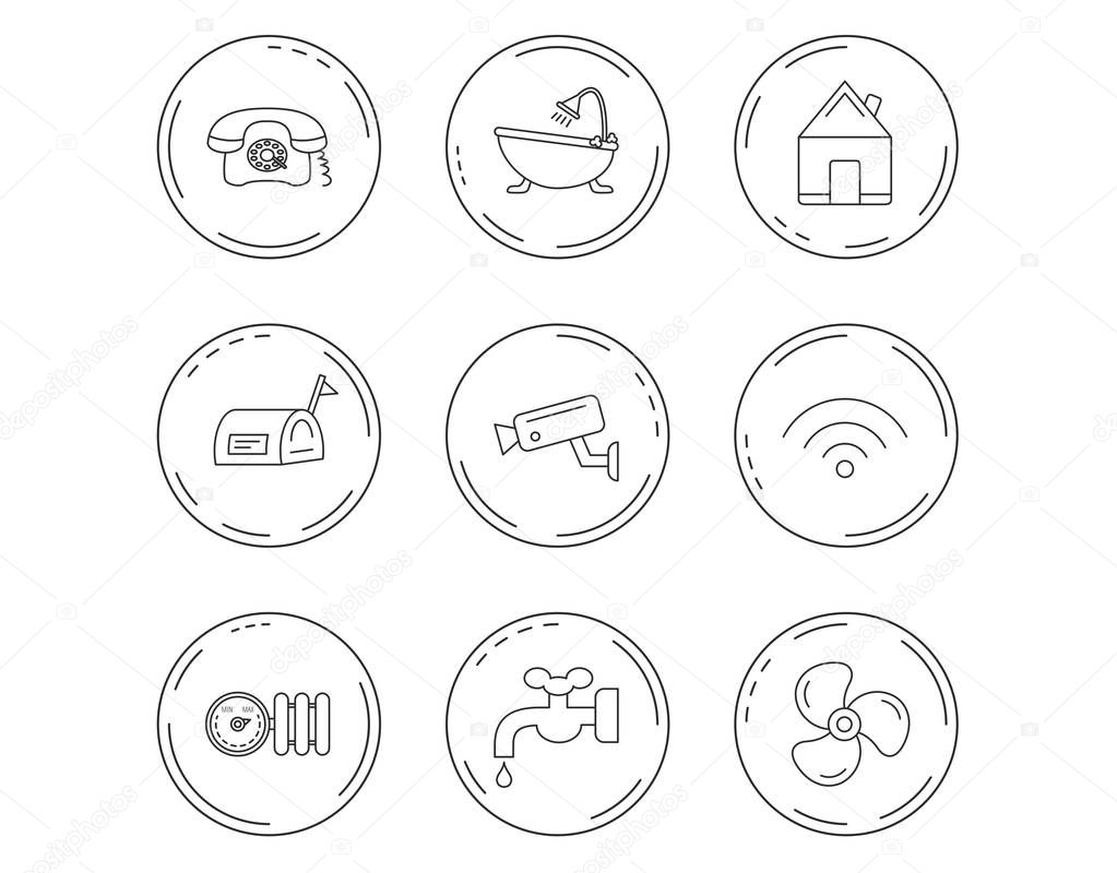 Wifi, video camera and mailbox icons.