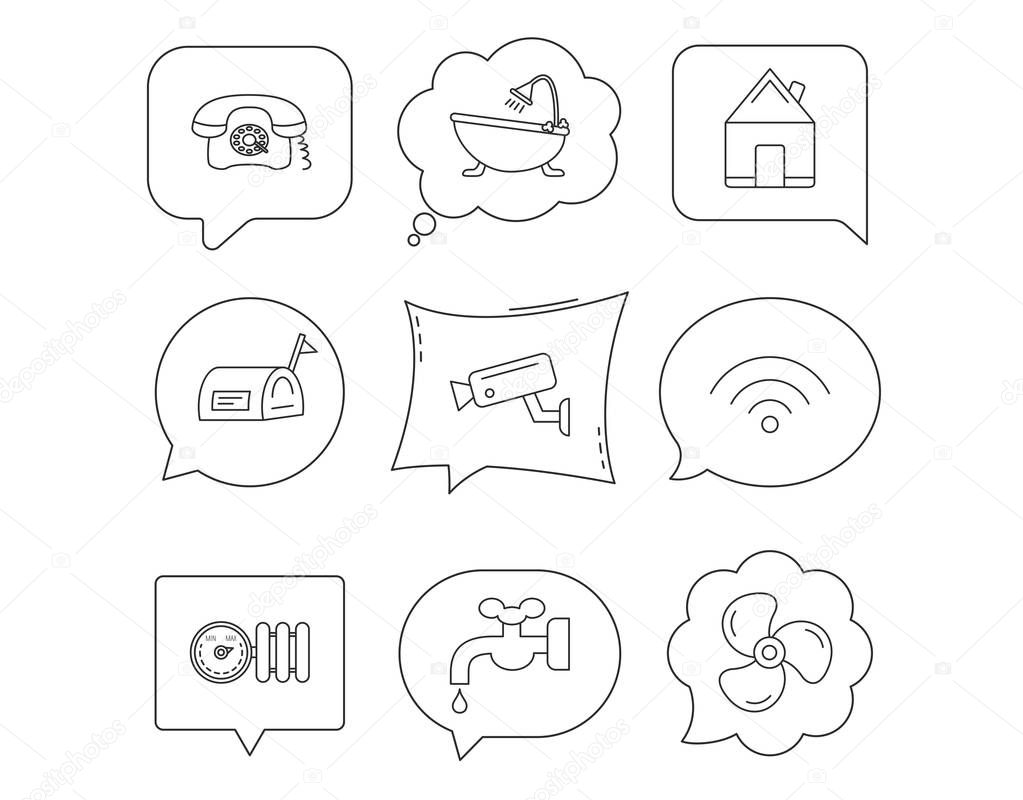 Wifi, video camera and mailbox icons. Real estate, bath and water supply linear signs. Radiator with heat regulator, phone icons. Linear Speech bubbles with icons set. Comic chat balloon. Vector