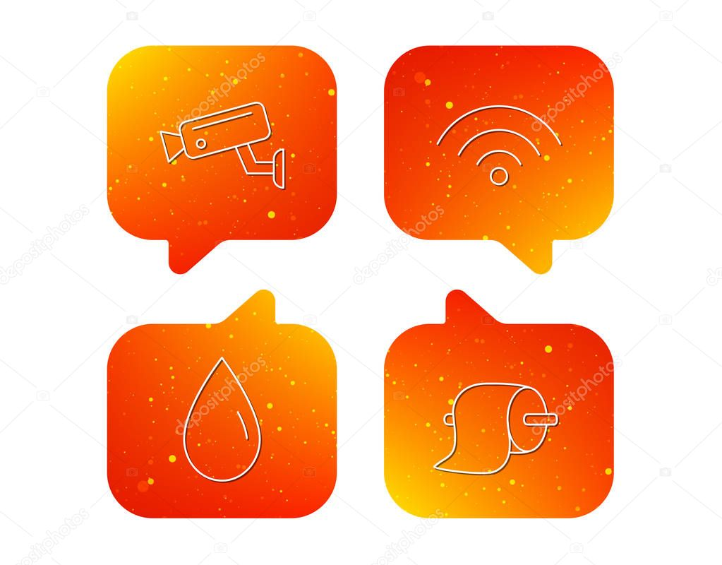 Wi-fi, video monitoring and water drop icons.