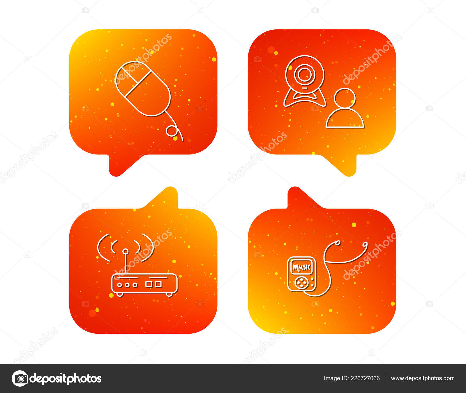 Router Video Chat Music Player Icons Mouse Linear Sign