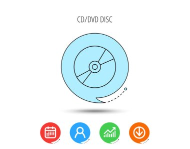 CD or DVD icon. Multimedia sign.