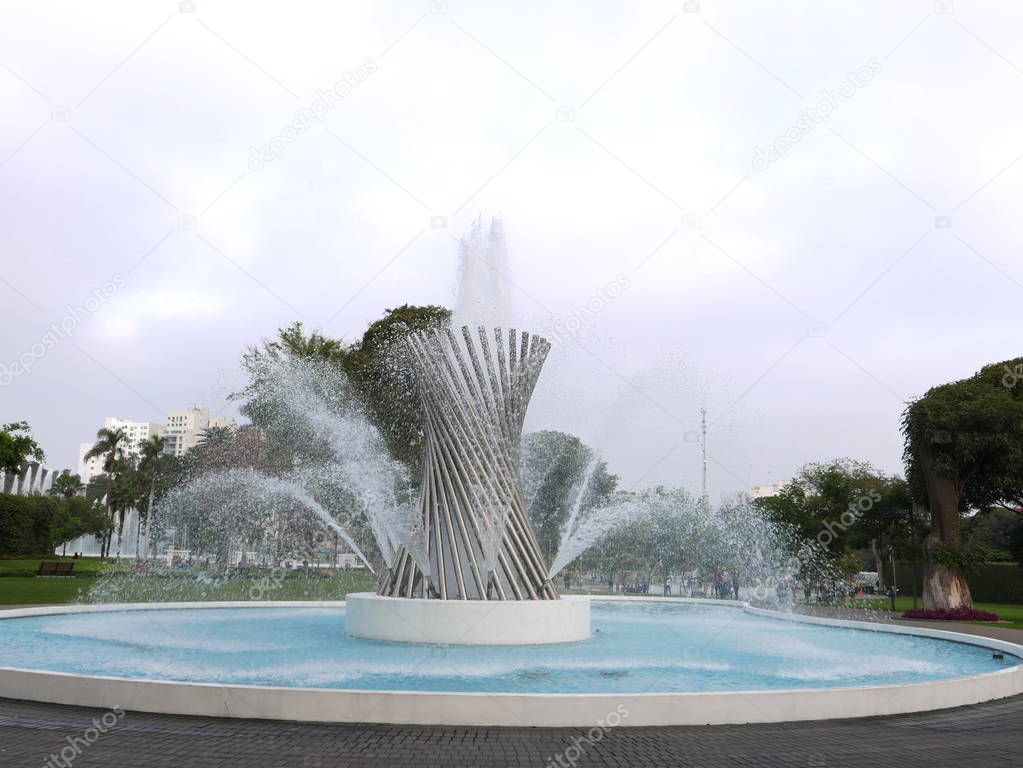 Rotating waterjet fountain in the Magic Water Circuit at the Lima Reserve Park. The Magic Water Circuit is the world's largest fountain complex in a public park, making it worthy of the Record Guinness Award.