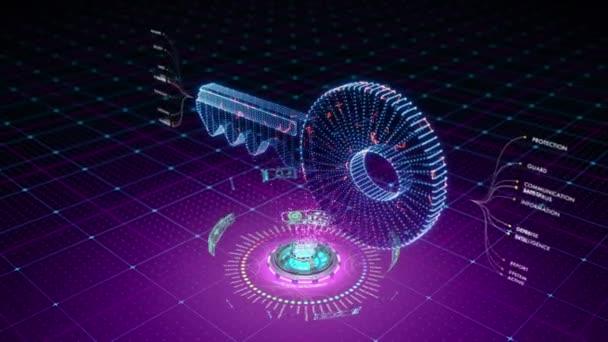 Futuristické animace částic tvořících symbolem klíče. Skvělé pro přístup k datům a ochranu související obsah.