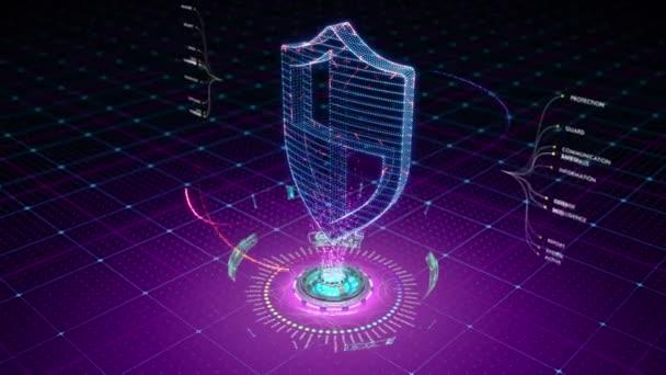 Részecskék formájában egy ikon a pajzs védekező mező veszi körül. Nagy animáció az adatokhoz való hozzáférés és a védelem kapcsolódó média.