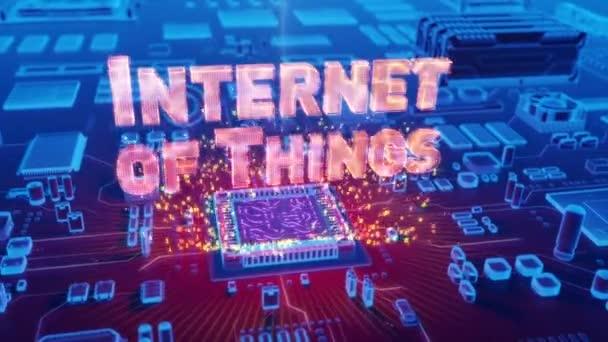 Futuristické animace holografické Internet věcí textu z mikroprocesoru na elektronické desce.