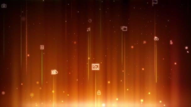 nahtlos schleifender Hintergrund technologiebezogener Symbole, die sich sanft in vertikale Richtung bewegen