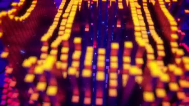Kamera letí nad krychlových pixelů jako vytvářejí ikonou nákupního košíku na modrém pozadí