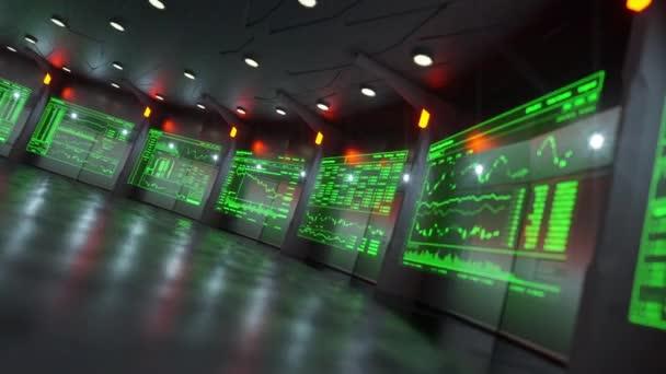 Nízký úhel diagonální kamera pohybuje po digitálních datových obrazovek zobrazení údajů akciového trhu v moderní obchodní výměny