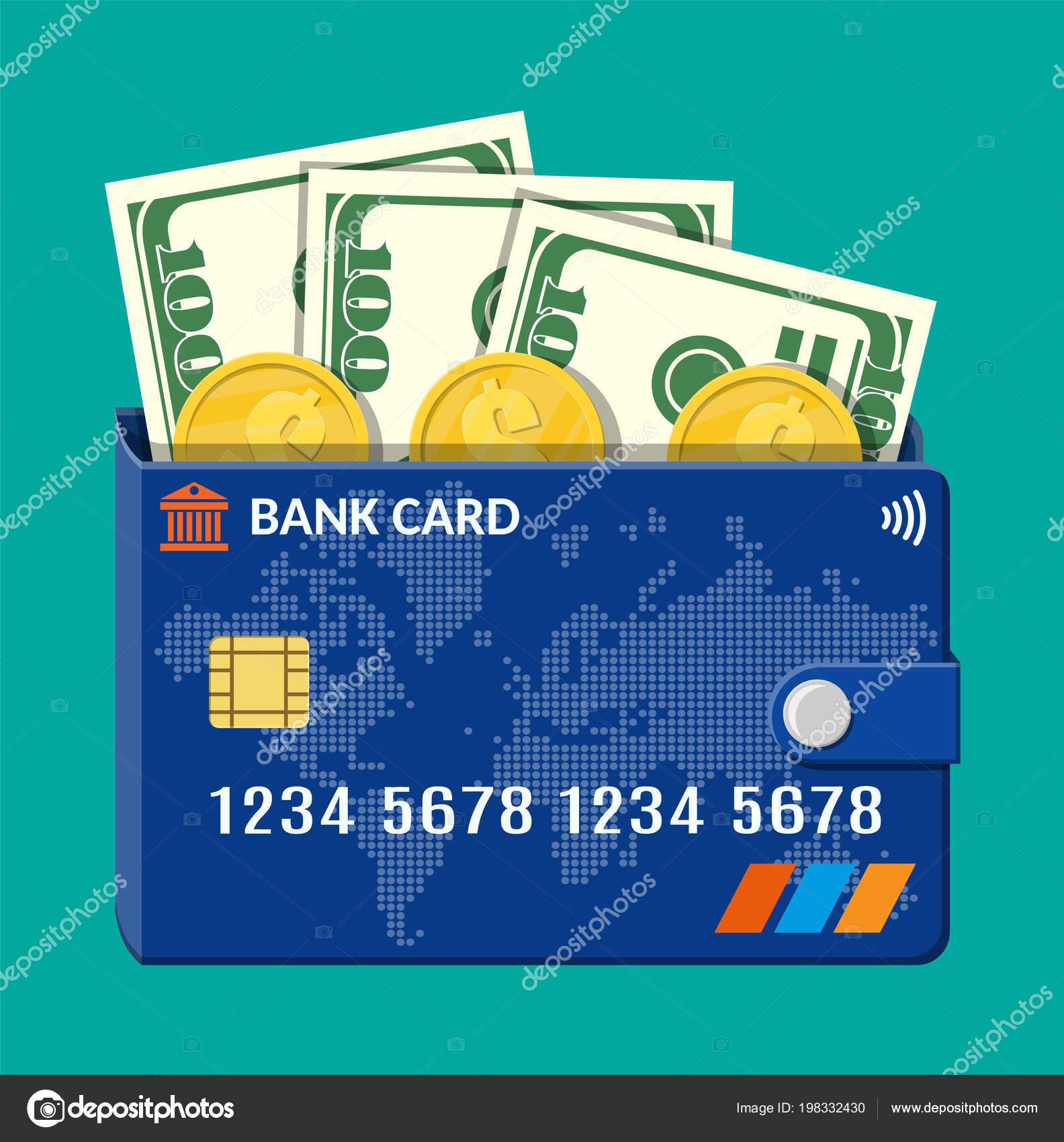 Bank Karte Brieftasche mit Dollar-Banknoten und-Münzen — Stockvektor ...