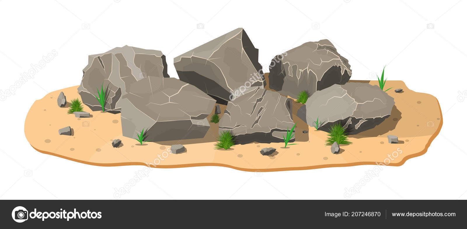 Pile of rock stone with grass on sand  — Stock Vector © abscent