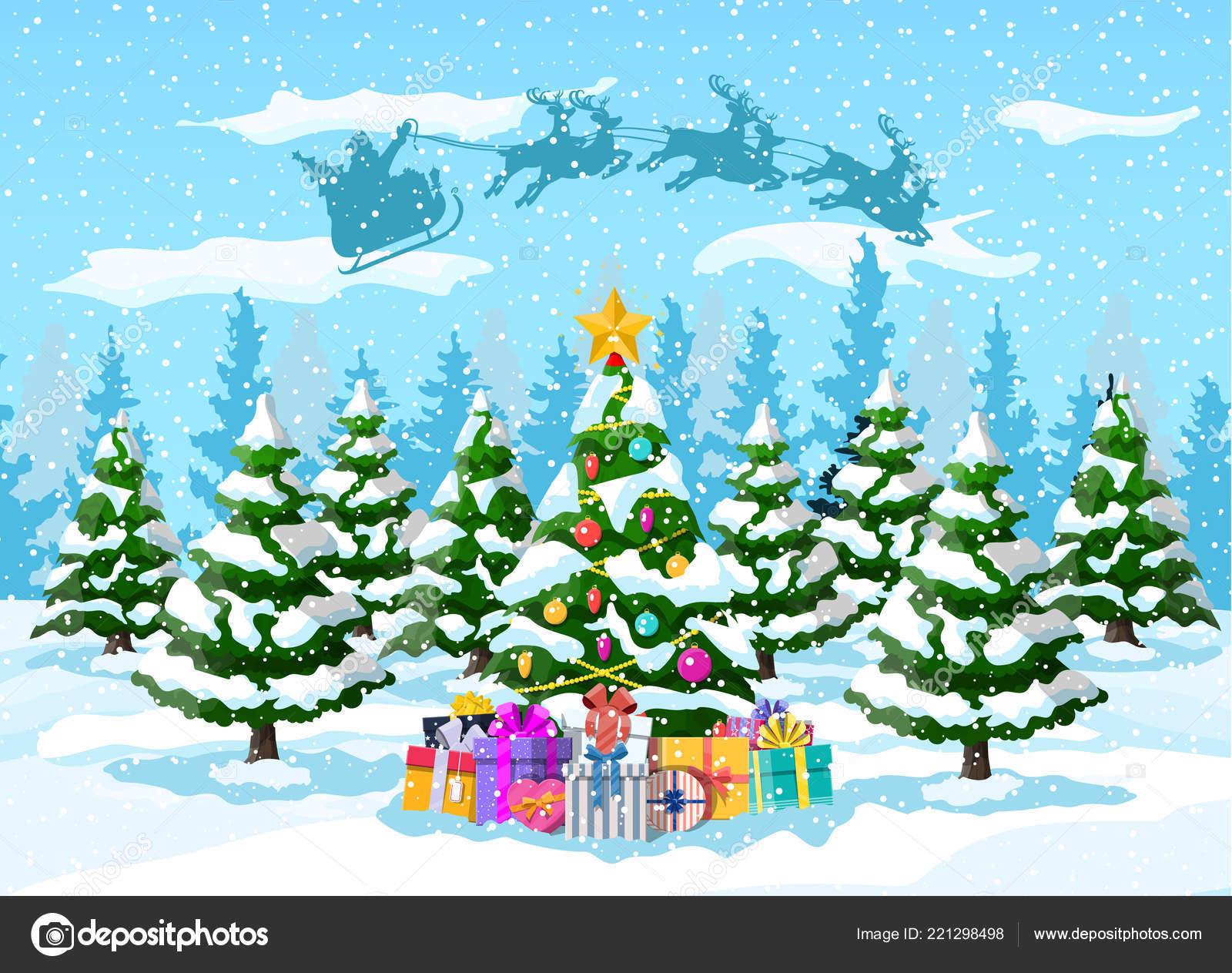Babbo Natale Con Le Renne.Albero Di Natale Babbo Natale Con La Renna Slitta Vettoriali Stock