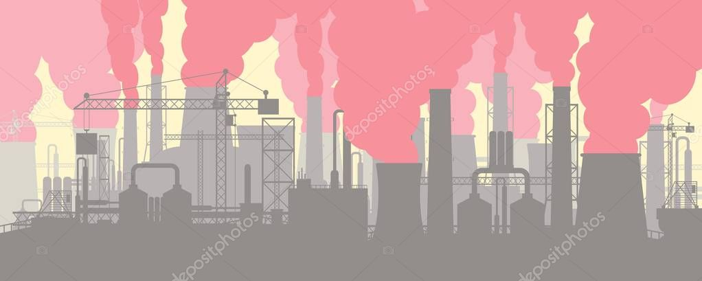 Panoramic industrial silhouette landscape.