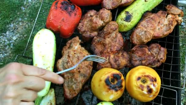 Human hands prepares a pickled tasty pork or beef meat and vegetables on a barbecue or on the grill.