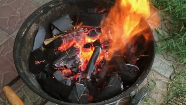 Palivové dříví a uhlí, jasně hoří v grilování na dvoře. Detail