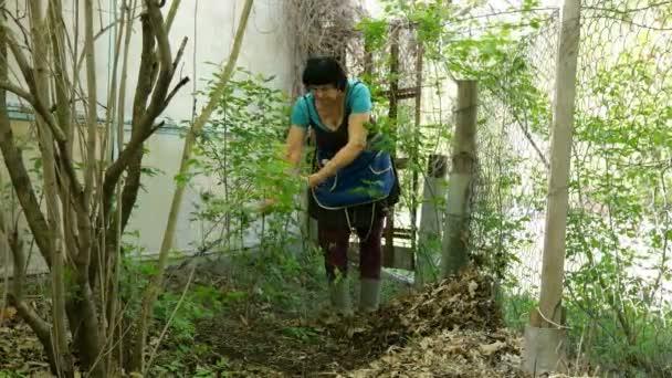 Szezonális otthoni munka tereprendezés. Tavaszi kerttisztítás. Gereblyézés rake levelek a kertben.