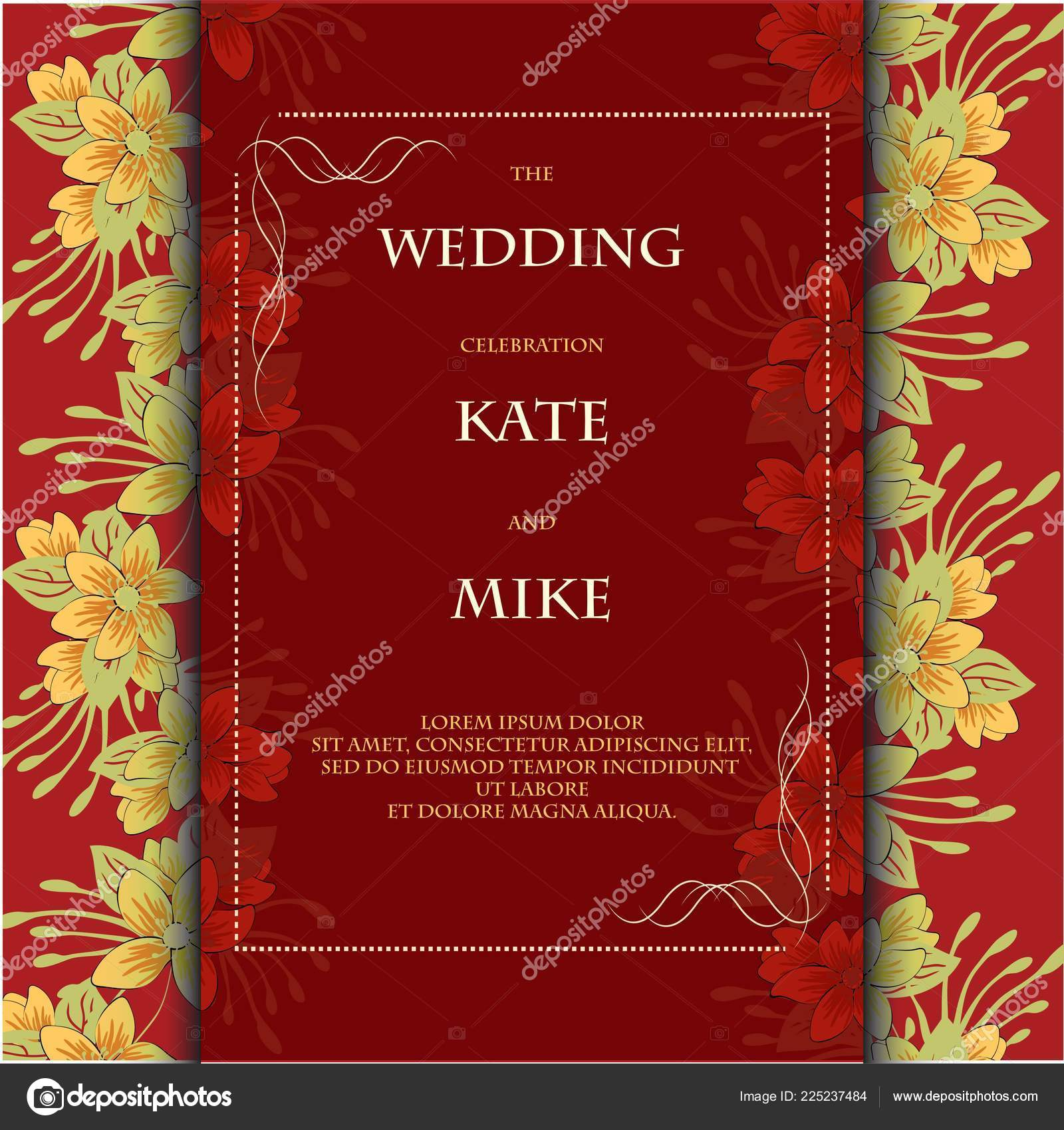 Wedding Invitation Card Template Flower Floral Background