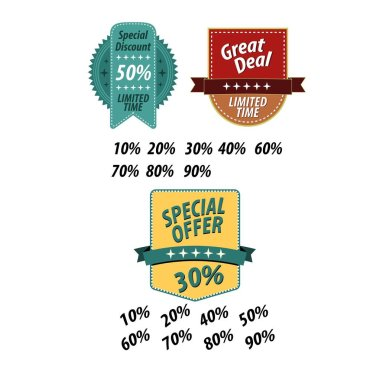 Price tags label with sale and discount text in different shapes for end of season store promotion. Vector illustration.