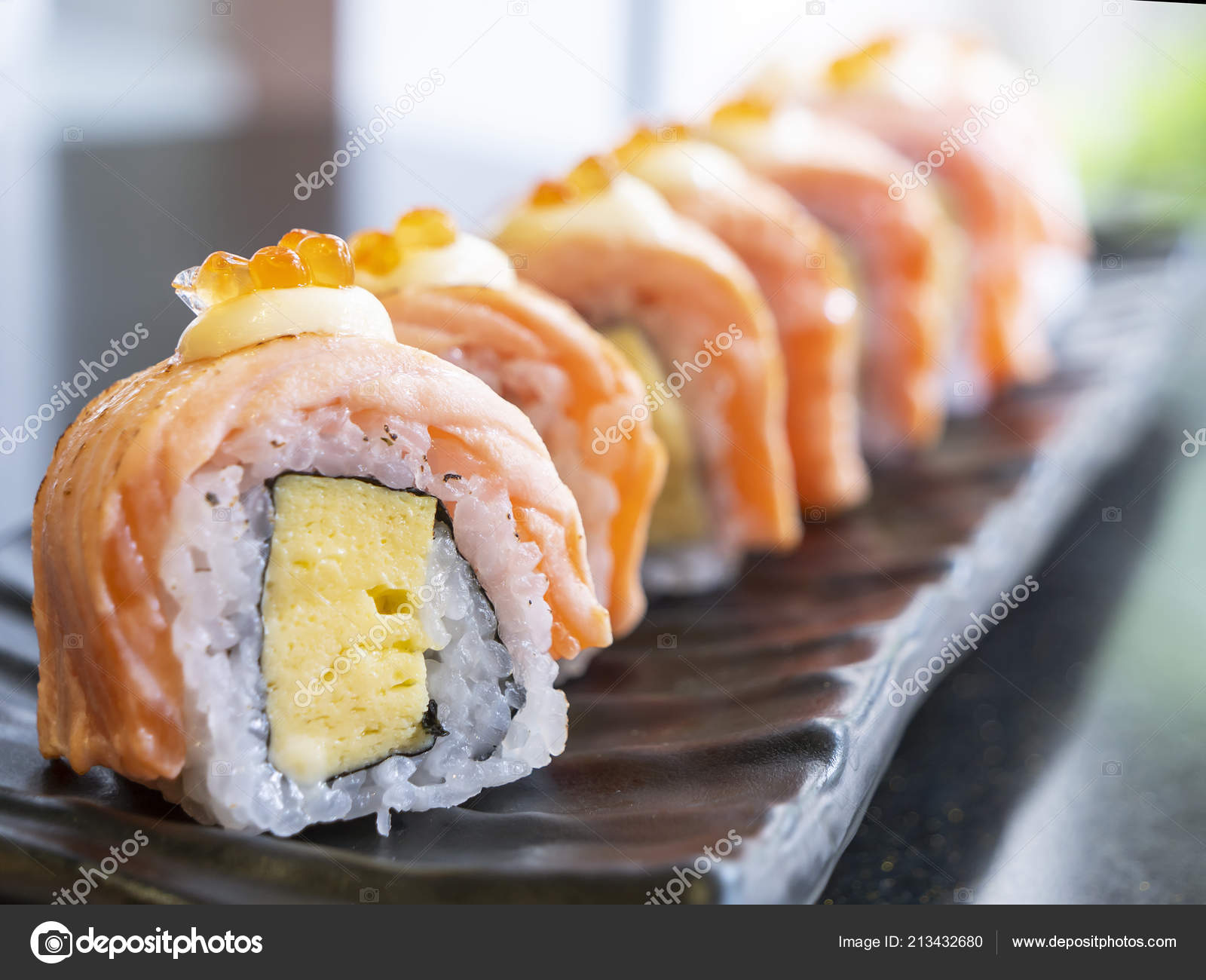 Close Grill Salmon Roll Sushi Black Dish Restaurant Selective Focus Stock Photo Image By C Npstockphoto 213432680