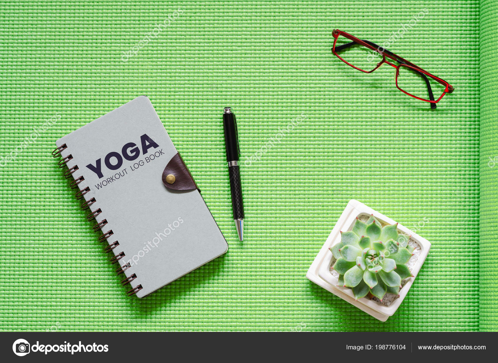yoga workout log book concept flat lay top view yoga stock photo