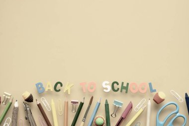 Back to school background concept. Back to Scool wood text arran