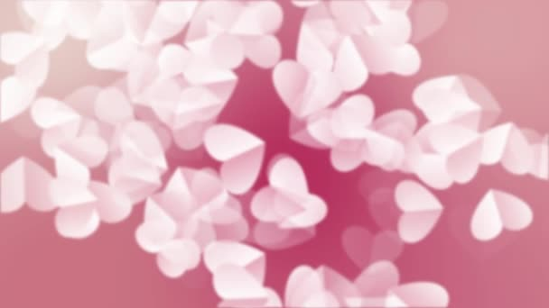 Heart Background For Valentines day. Animated background with white heart paper 3D rising for valentines day holiday. Render in 4K