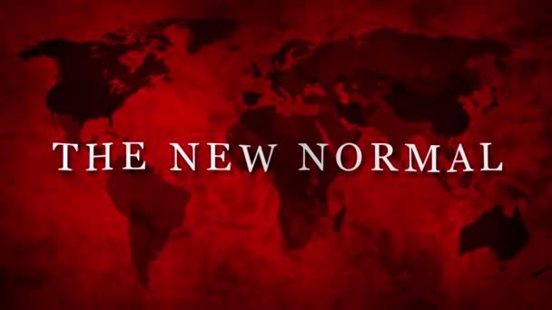 Új normál koncepció az új normál szó és piros világ földgömb térkép 3D render animáció háttér banner, Mi lesz az új normális után COVID-19 koncepció. A Covid19 utáni emberi életmód megszakítása.