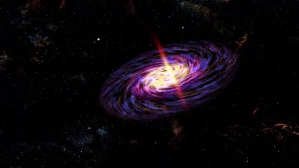 Spirálovitá galaxie v hlubokém vesmíru. Létající let hvězdnými poli a mlhovinou do spirální galaxie, 4K 3D abstraktní animace Mléčné dráhy.