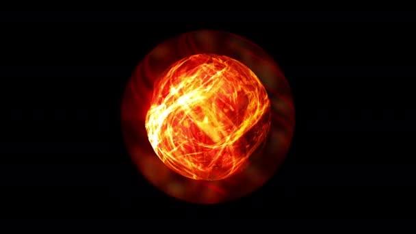 Abstraktní magická křišťálová koule. Žhnoucí skleněná koule s ohnivým efektem se uvnitř točí. 4K 3D vykreslování bezešvé smyčky. Astrologie mystické sféry vj vizuální animace. Spirituální meditační plazmová koule.