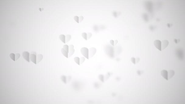 Romantický vzor bezešvé smyčka bílá srdce létající na bílém pozadí. Svatý Valentýn, Den matek, výročí svatby. Svatební pozvánka. 4K 3D vykreslování animace.