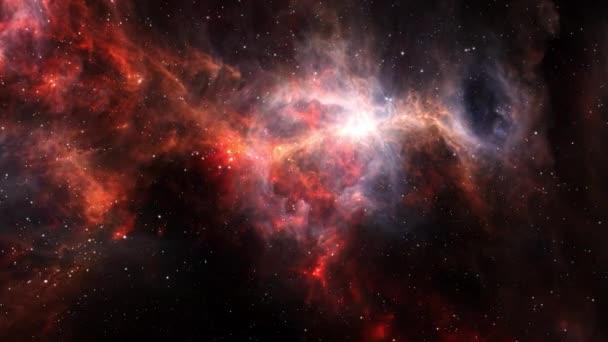 Vesmírný let do zaprášené strany Orionského meče. 3D vykreslování 4K. Let vesmírem S hvězdným polem, Galaxií a mlhovinou. Prvky poskytnuté obrazem NASA.